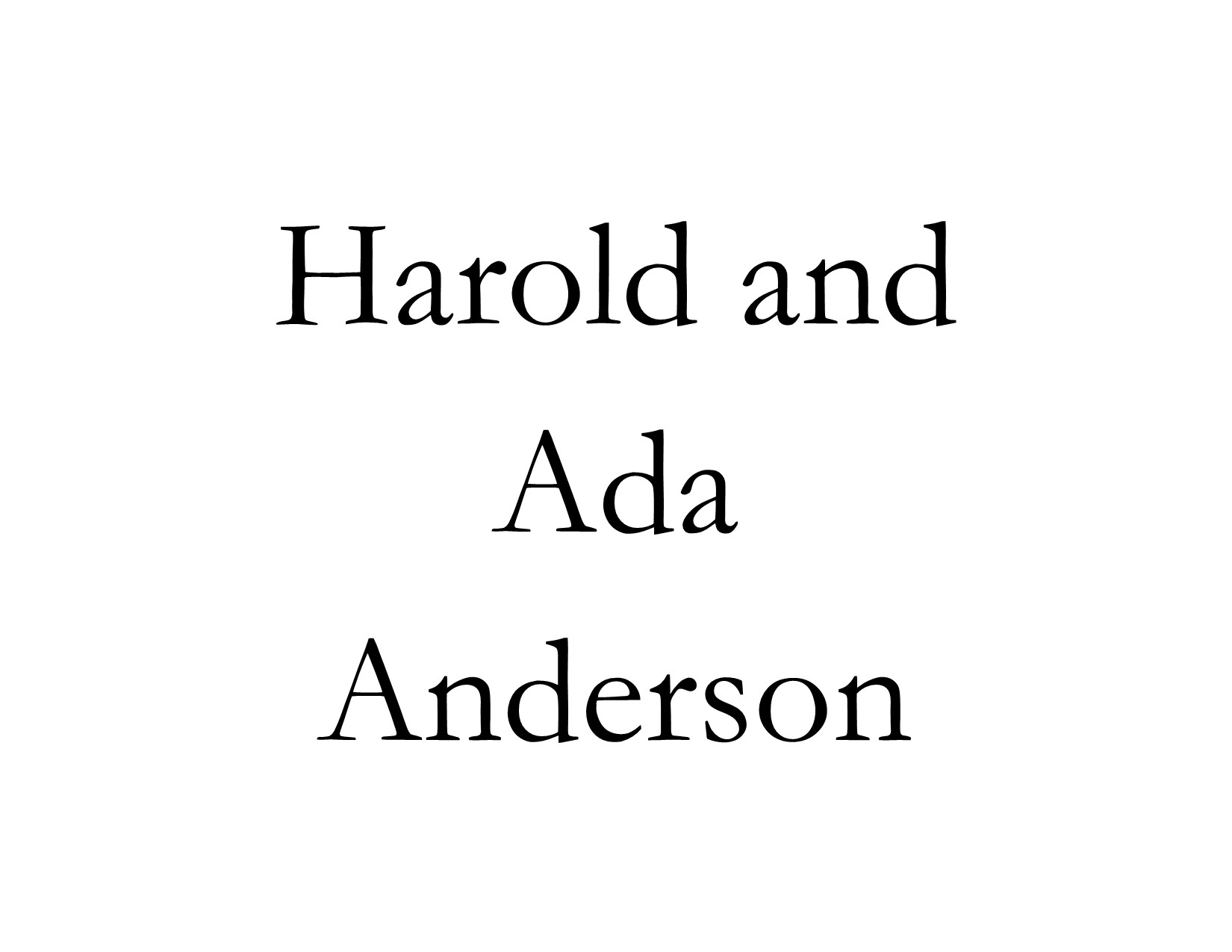 harold and ada anderson